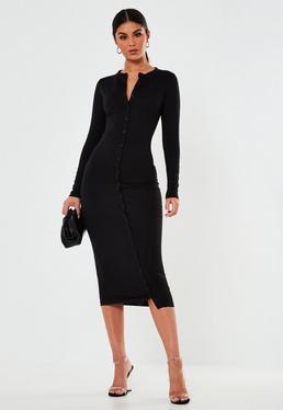 a161824d9dd ... Black Button Through Bodycon Midi Dress