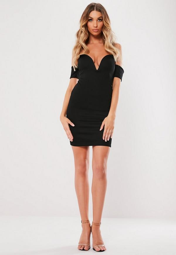 Black Bardot V Bar Bodycon Mini Dress Missguided