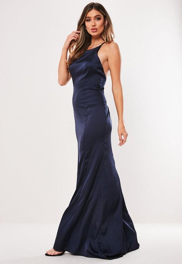 47a96bcb2f4a44 ... Bridesmaid Navy Satin Round Neck Backless Maxi Dress. Previous Next
