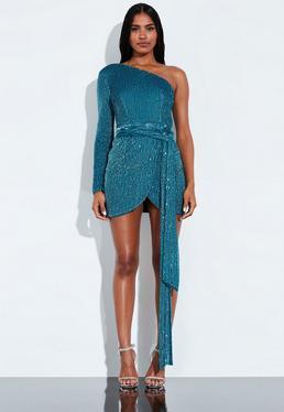 fe79fc2fefb9 ... Peace + Love Blue One Shoulder Sequin Embellished Mini Dress