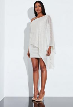 Peace + Love Асимметричное мини-платье с белой драпировкой спереди