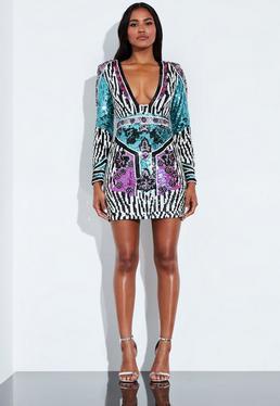 0646625211d224 Peace + Love Kolorowa cekinowa sukienka z głębokim dekoltem