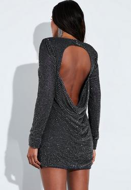552ff921a68d ... Peace + Love Grey Sequin Embellished Cut Out Drape Back Mini Dress