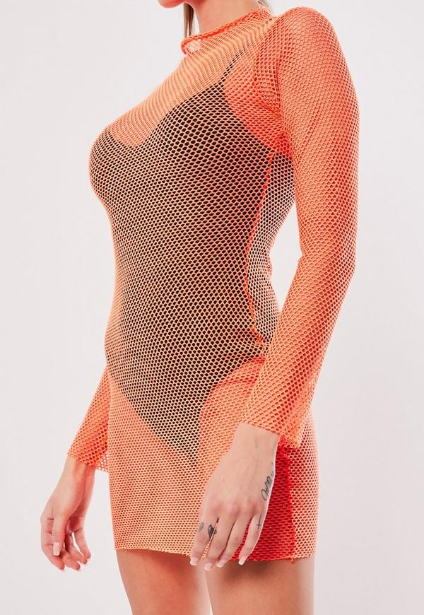 bc3c3057c10 Neon Orange Micro Fishnet Bodycon Mini Dress. Previous Next