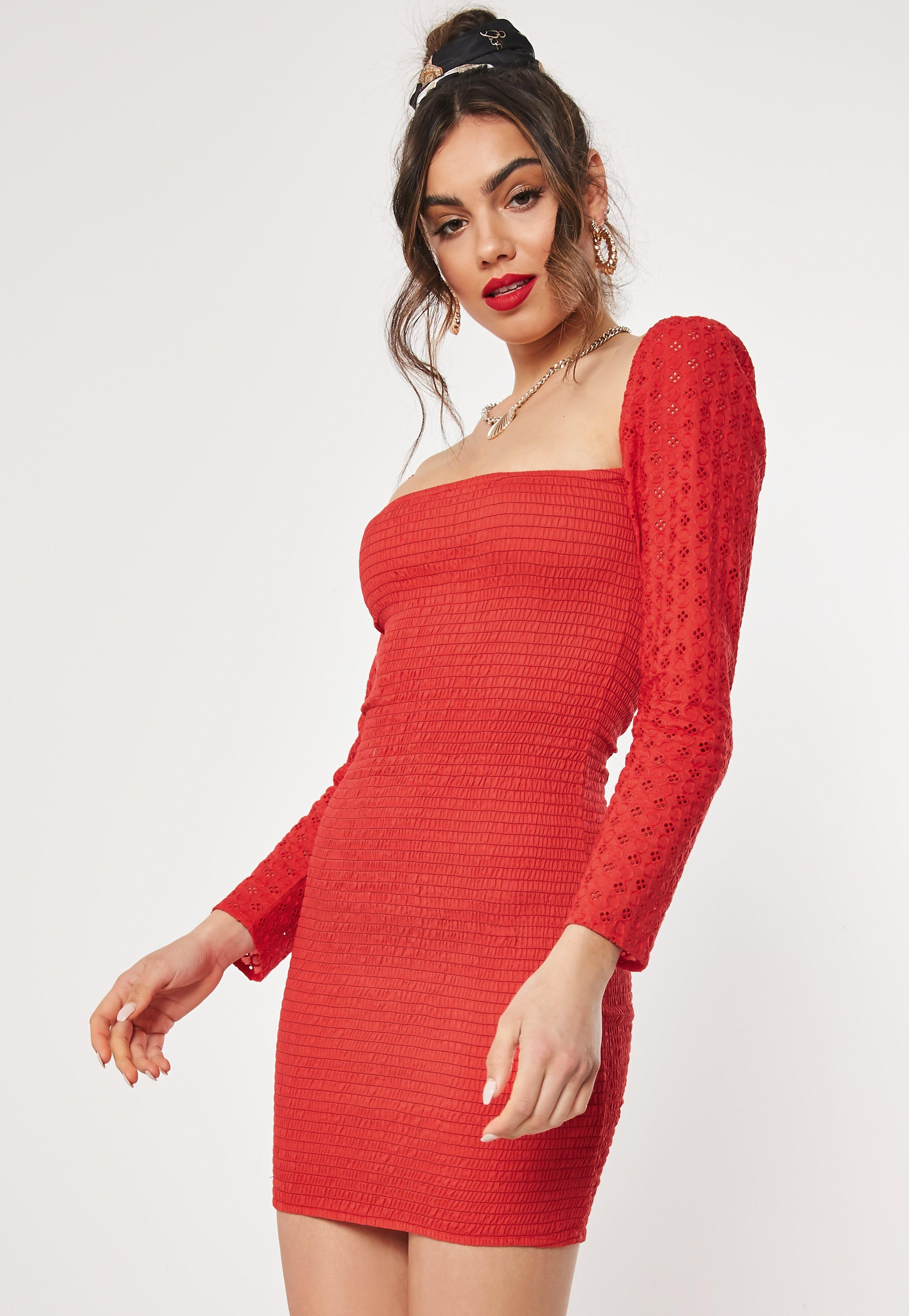 Red Broderie Anglaise Shirred Bodycon Mini Dress