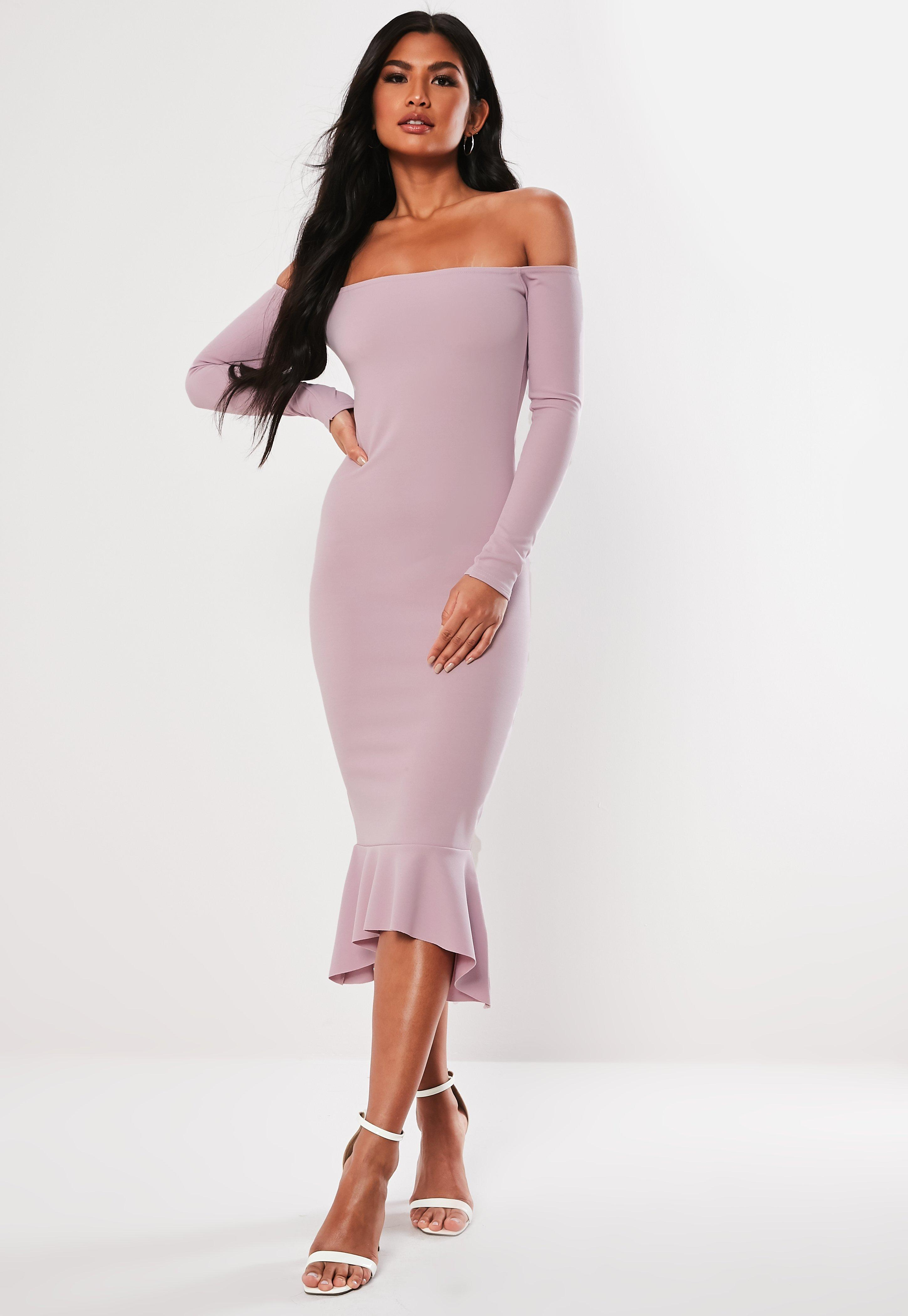8a6420ba78671 Lilac Bardot Fishtail Bodycon Midi Dress | Missguided