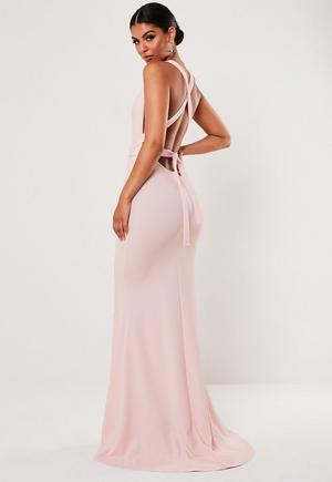 a08430db268 £28.00. pink crepe halterneck bodycon maxi dress