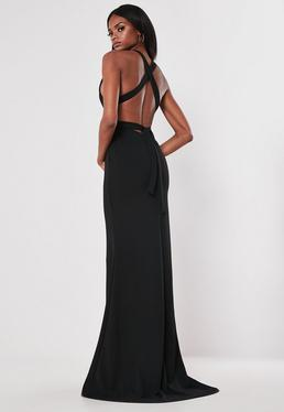 5f936321976a Red Plunge Neck Maxi Dress  Black Halterneck Maxi Dress