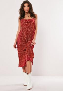 447cd7cb85 Red Polka Dot Cami Cowl Midi Dress