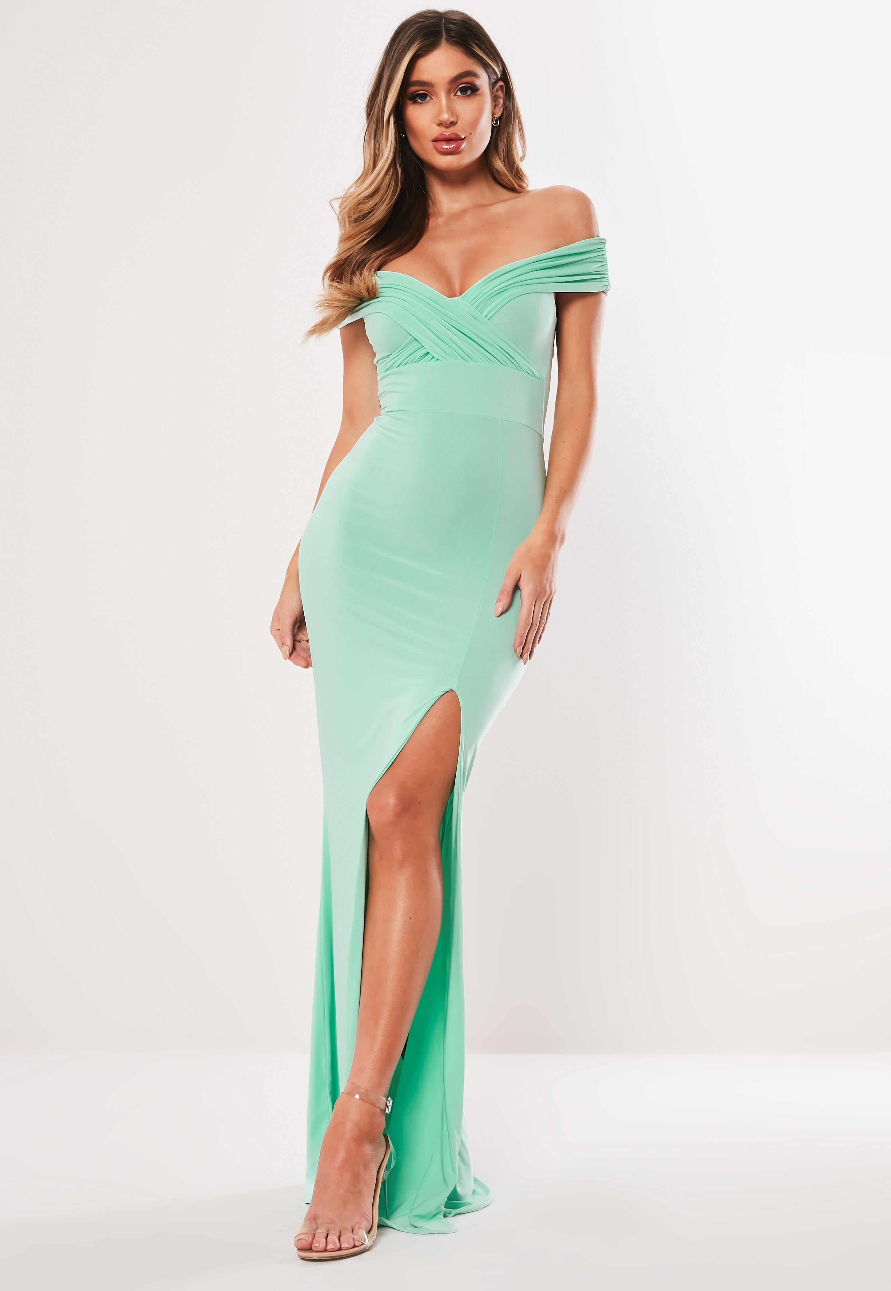 0155a9701e62 Mint Bardot Wrap Slit Bodycon Maxi Dress