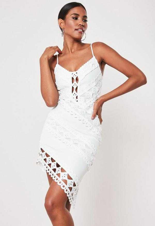 White Crochet Lace Cami Mini Dress Missguided