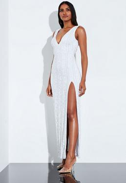0009ecf1 Peace + Love White Plunge Embellished Split Maxi Dress