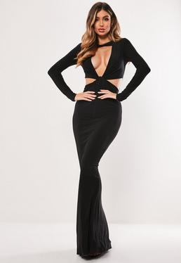 127f707df2 Black Double Twist Front Slinky Maxi Dress