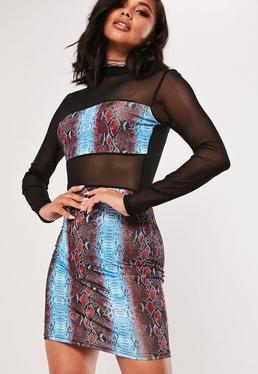 243bfe43c13 Blue Printed Mesh Panel Bodycon Mini Dress