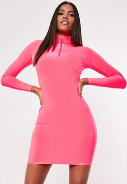 04e16f2f987 ... Neon Pink Slinky Bodycon High Neck Zip Mini Dress