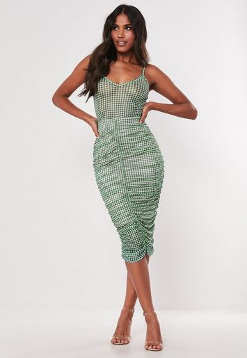 Green Strappy Gingham Bodycon Midi Dress by Missguided