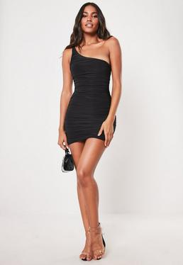 47c2cde577b7 ... Black Slinky One Shoulder Ruched Bodycon Mini Dress