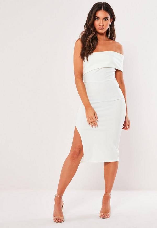 c63cf41e White Floral One Shoulder Bodycon Midi Dress | Missguided Australia