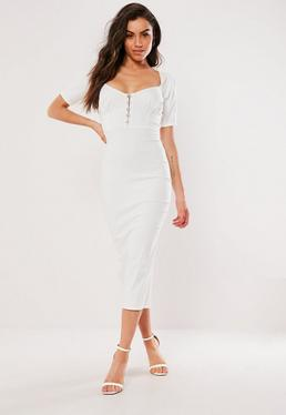 9e5e99cc0427 White Milkmaid Hook And Eye Bodycon Midi Dress
