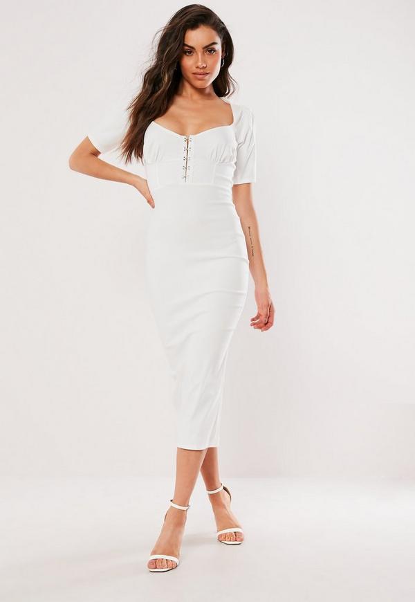 White Milkmaid Hook And Eye Bodycon Midi Dress