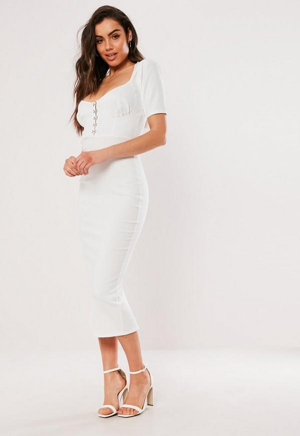 White Milkmaid Hook And Eye Bodycon Midi Dress Missguided
