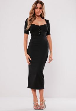 Black Milkmaid Hook And Eye Bodycon Midi Dress 747943275