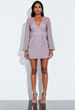 ef5bad998165 Peace + Love Lilac Sequin Embellished Balloon Sleeve Mini Dress
