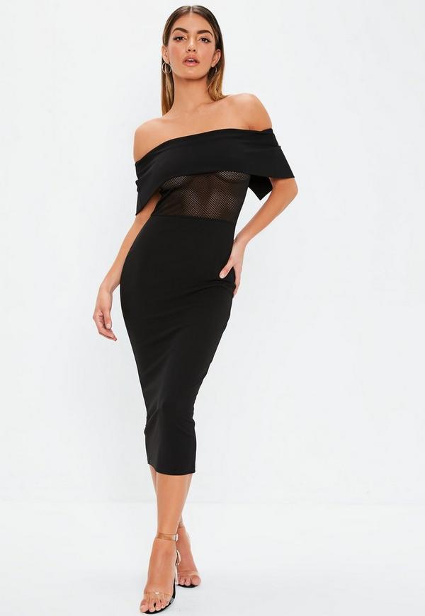 Black Fishnet Insert Bardot Midi Dress 427a4b1d0