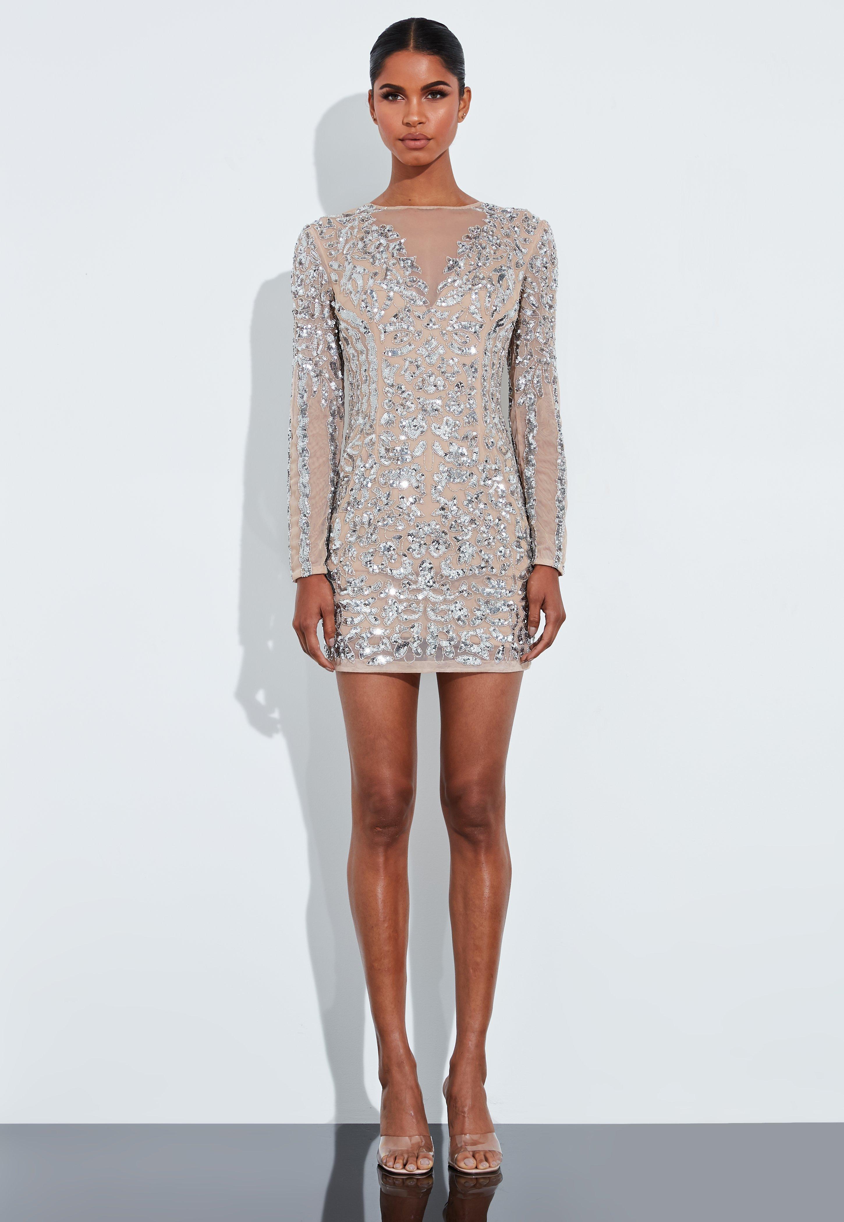 Peace + Love Cielista sukienka zdobiona srebrnymi cekinami