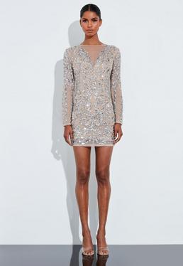 56ba9e8e ... Peace + Love Silver Sequin Embellished Mesh Round Neck Mini Dress