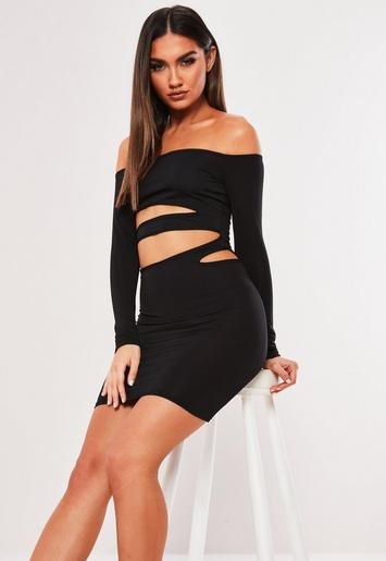 Black Slinky Bardot Cut Out Bodycon Mini Dress by Missguided
