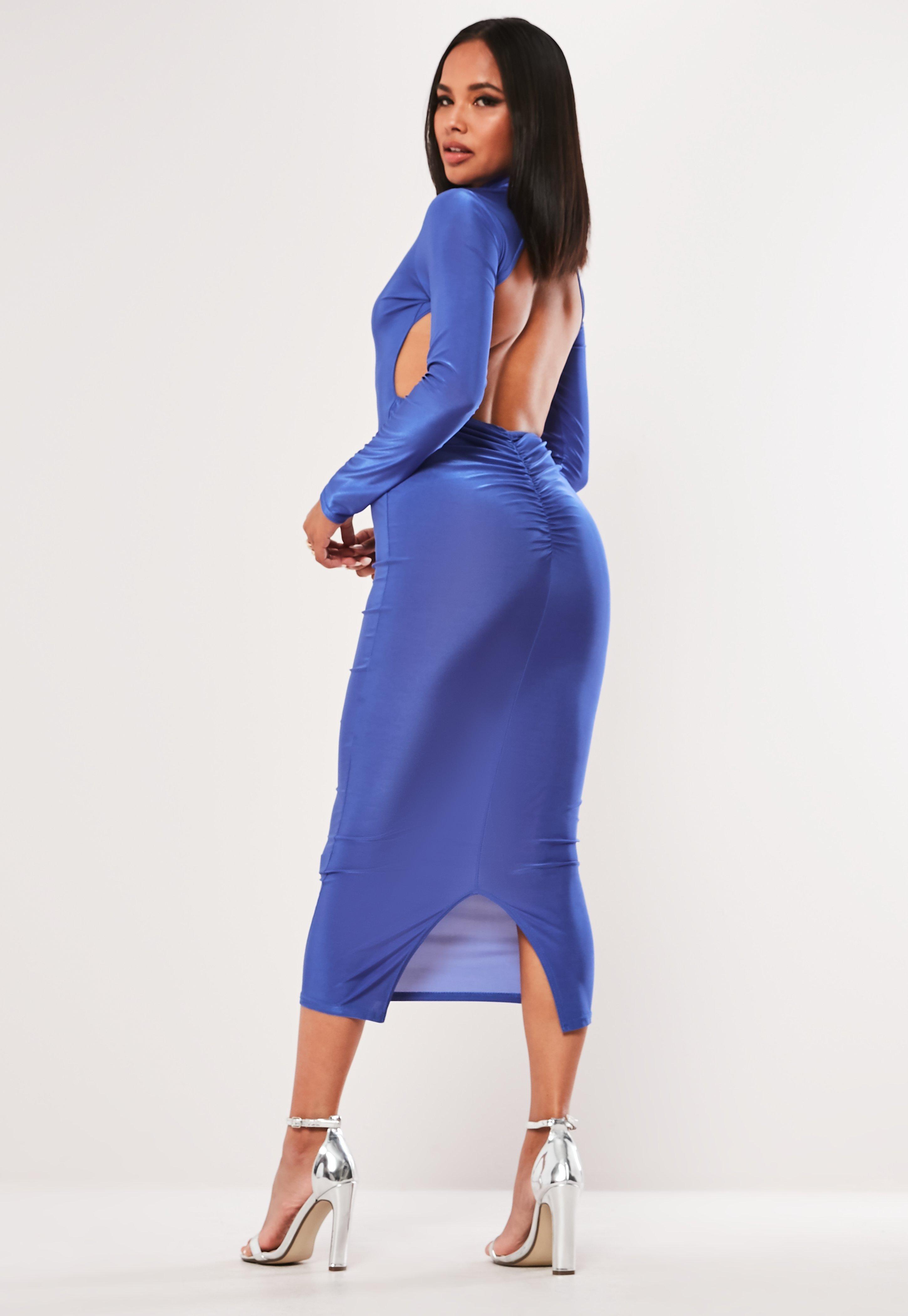 47db9f18d0 Niebieska sukienka midaxi z wycięciem na plecach