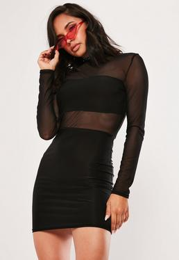 857ae1e2ecc Black Mesh High Neck Sheer Bodycon Mini Dress