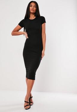 Черное базовое облегающее платье миди