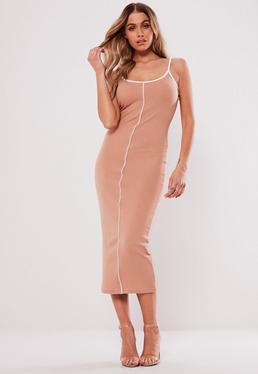 Sand Slinky Cowl Neck Midi Dress · Nude Ribbed Piped Midaxi Dress dba857330fa