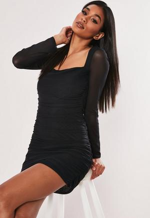 49a6624e239 Black Crepe Square Neck Long Sleeve Bodycon Dress