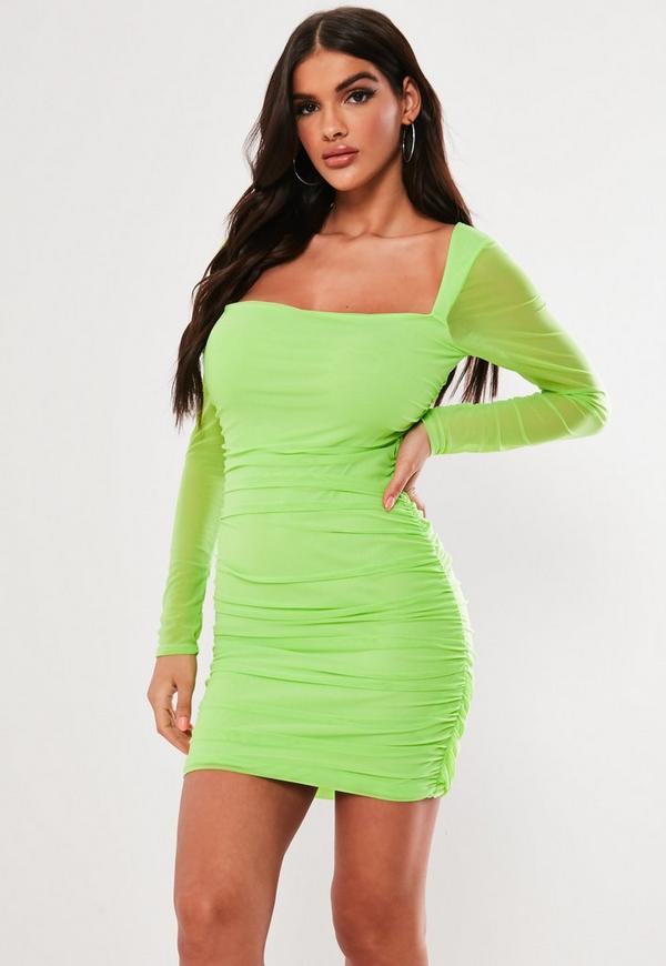 Lime Square Neck Mesh Bodycon Mini Dress by Missguided