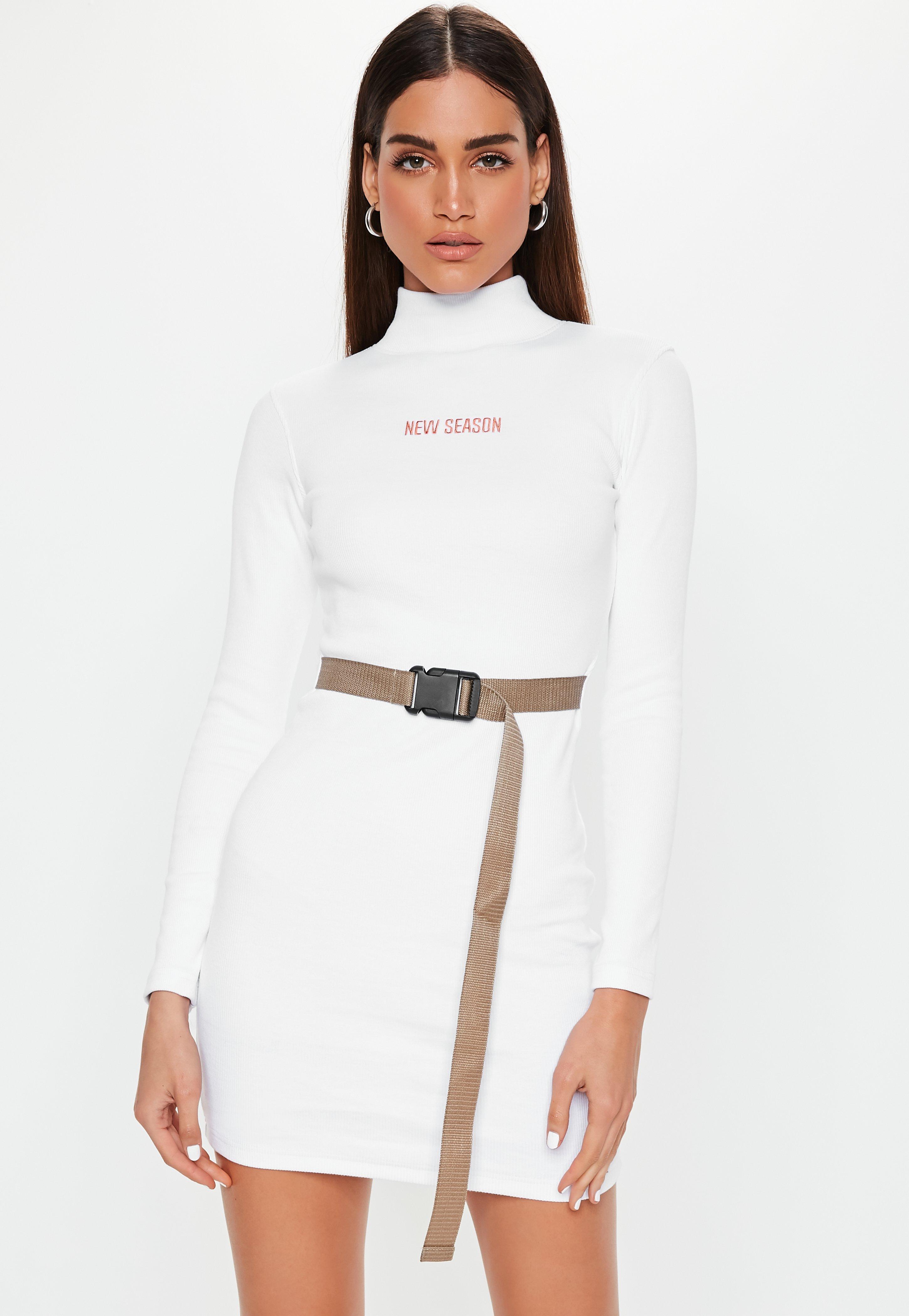 e98ebc98088d8 White New Season Belted Bodycon Mini Dress | Missguided