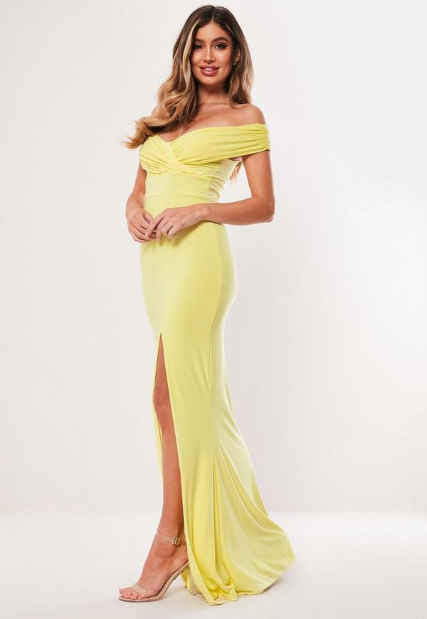Lemon Bardot Wrap Slit Maxi Dress. Previous Next 3073cf99f