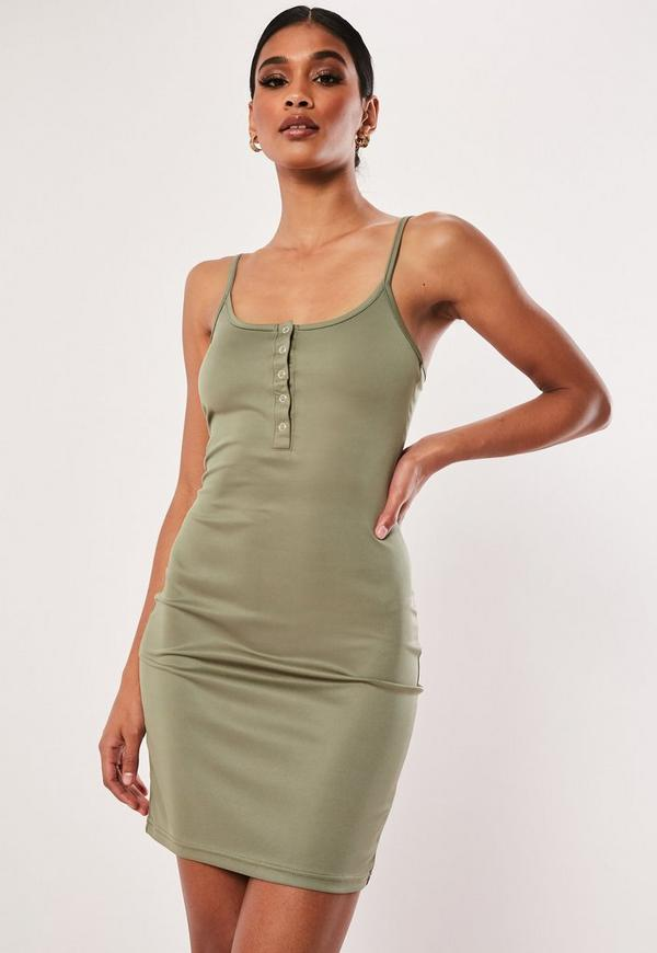 2ca13c440e1 Khaki Cami Popper Front MinI Dress