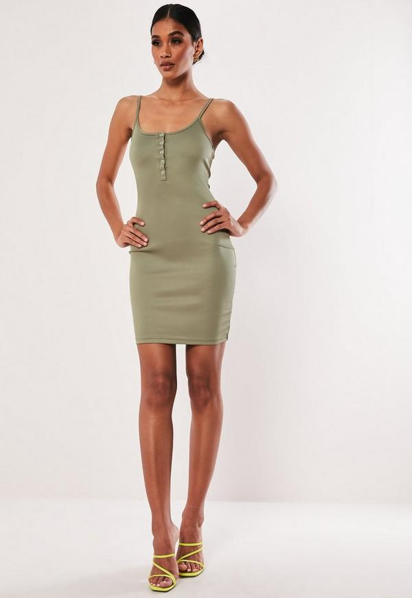 1a54e9c6f29 Khaki Cami Popper Front MinI Dress. Previous Next