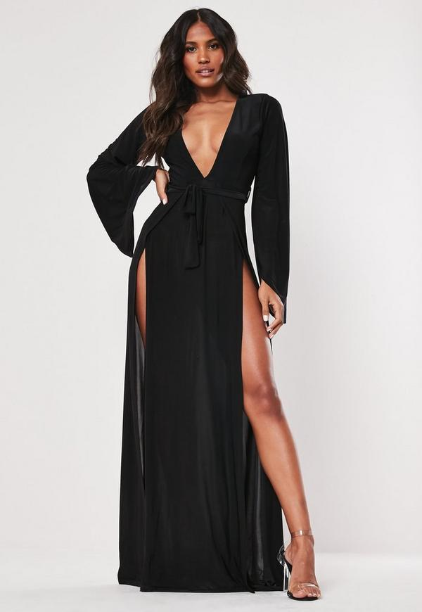 Black Flare Sleeve Split Slinky Maxi Dress by Missguided