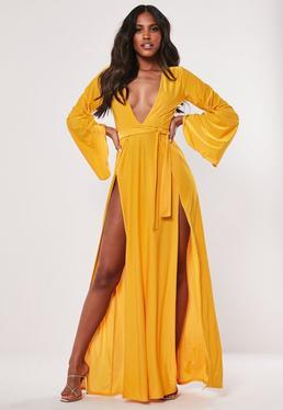 372a96a64729 Gold Flare Sleeve Split Slinky Maxi Dress