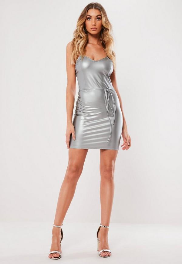 39f2106445 ... Silver Faux Leather Belted Cami Bodycon Mini Dress. Previous Next