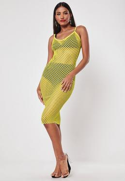 8678a5c32ba Yellow Fishnet Bodycon Midi Dress