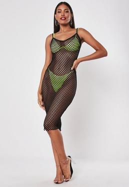 5d1c667f5b6 ... Black Fishnet Bodycon Midi Dress