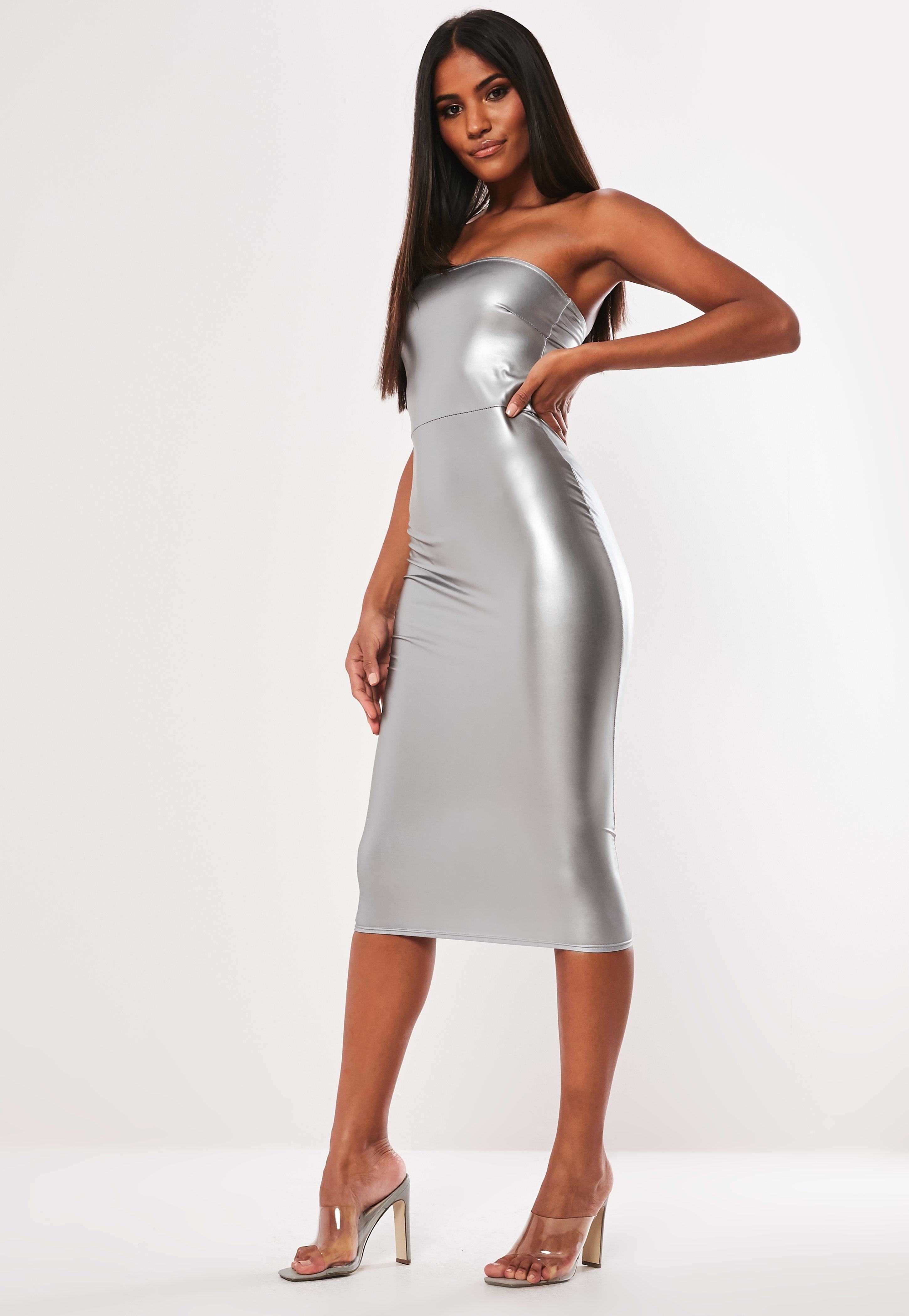 db166cbbb2 Silver Faux Leather Bandeau Bodycon Midi Dress