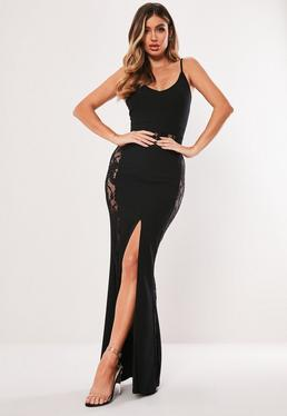 b09c5c59e346 ... Black Lace Panelled Fishtail Maxi Dress