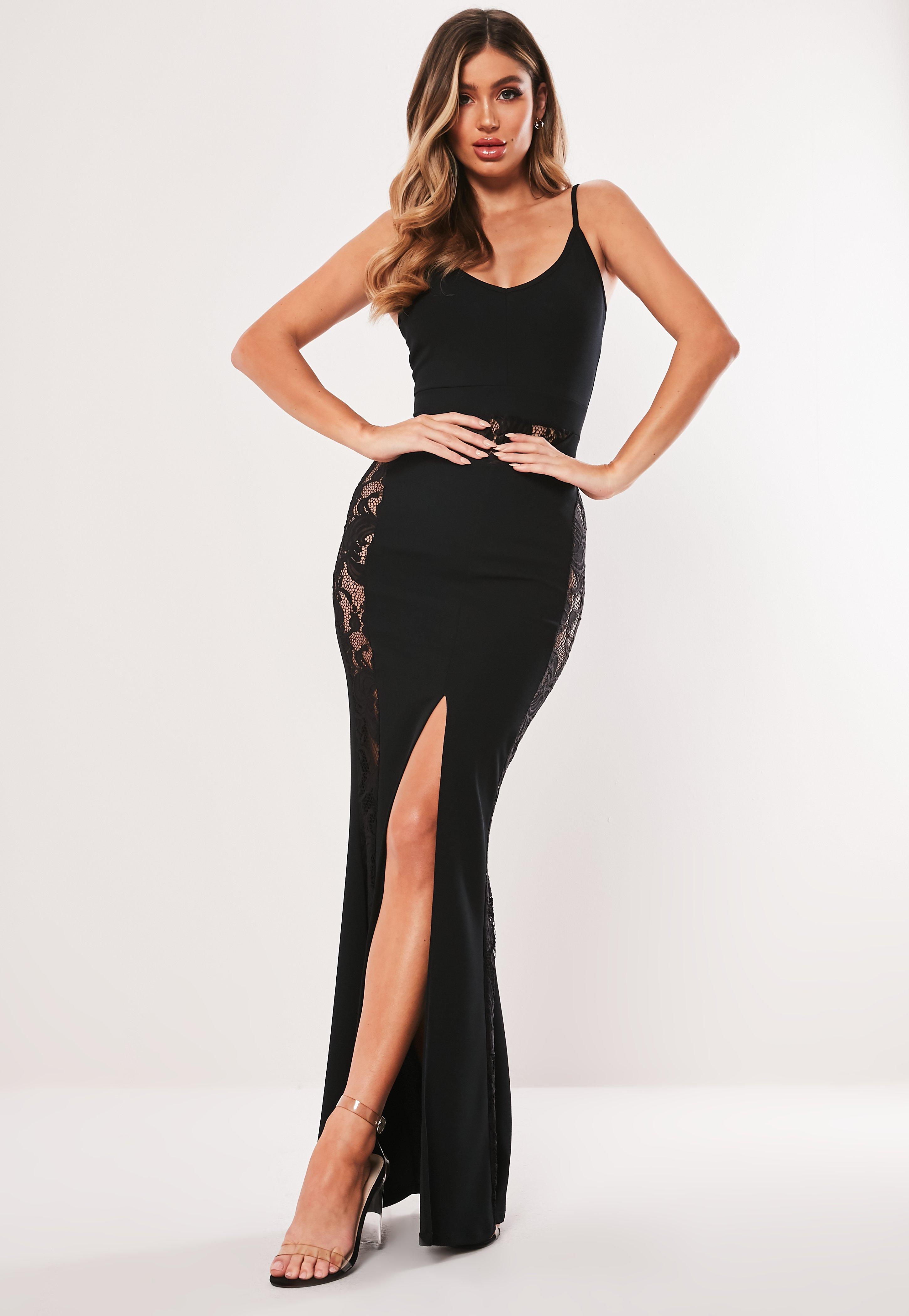 34a09c60a1 Czarna sukienka maxi z wstawkami z koronki