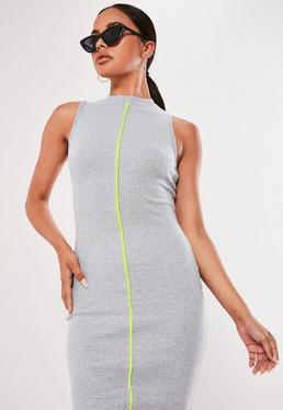 5c8132909cf ... Gray Ribbed Contrast Piping Midaxi Dress